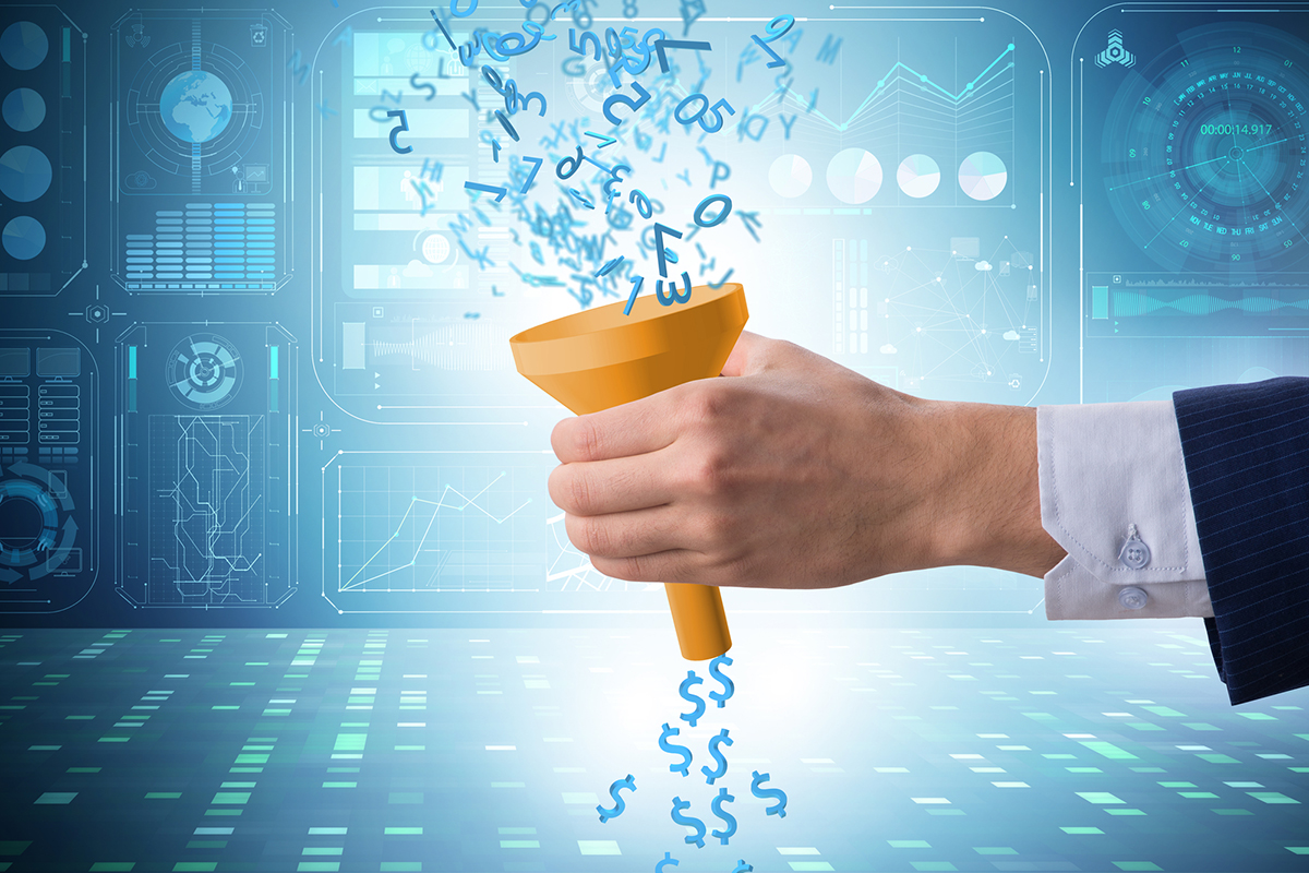 sales funnel and conversion creative representation: a hand holding a funnel where numbers are pouring in and income is coming out