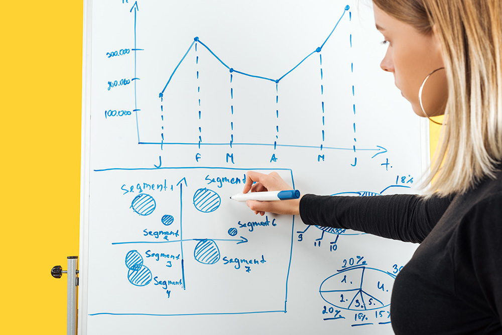 Understanding internet marketing: a photo of a woman doing some graphs on a whiteboard