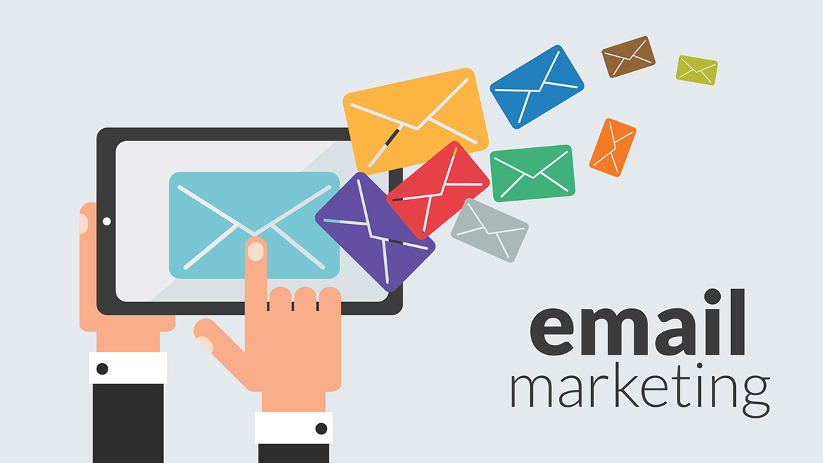 email marketing creative representation: a digital drawing showing one hand holding a mobile device and the other hand tapping it while colorful emails come out